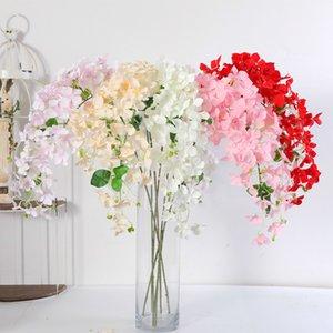 103cm Faux mur de fleur Branche Hydrangea Décoration Mariage Blanc Rose Flores bricolage Pompon Rouge soie artificielle Fleurs Garland 1pc