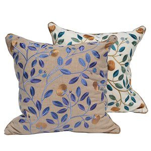 DUNXDECO Cushion Cover Square Pillow Case Modern Simple Classical Garden Leaf Embroidery Sofa Chair Coussin Seat Cushion Cover