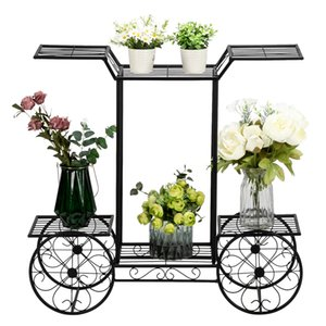 6 Tiers Garden Cart Stand & Flower Pot Plant Holder Display Rack-Parisian Style - Perfect for Home, Garden, Patio