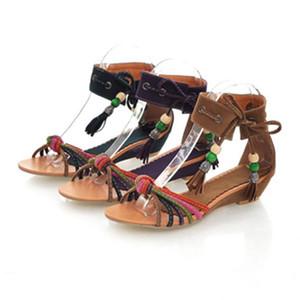 Glittery2019 Popular2019 Code Will Low con sandali Posimi Second Nation Wind Colour Bar Weave Manual Rome Shoe