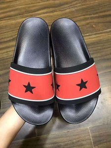 five pointed star slippers for men and women Paris stars slipers black One word slippers
