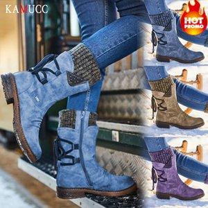 KAMUCC Kadınlar Kış Boots Orta Buzağı Kar Boots Kadın uyluk yüksek çizmeler Yüksek Kalite Botaş Mujer Artı boyutu LY191224 Isınma