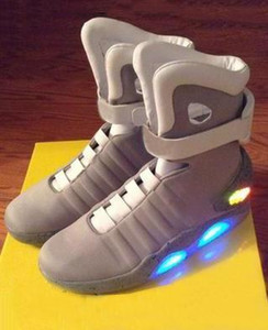 2020 Authentique Air Mag Back To The Future Glow In The Dark Grey sneakers Marty McFly « S Led Chaussures illuminant Mags Bottes Rouge Noir With22
