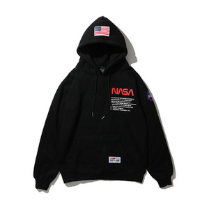 NASA Letters Printed Mens Casual Hoodies Hooded High Street Pullover Male Female Hip Hop NASA Sweatshirts