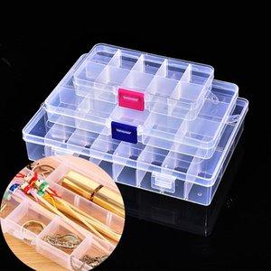 10/15/24 Griglie Storage Box ransparent monili registrabili di plastica orecchino di arte del chiodo piccola cassa dell'organizzatore Component