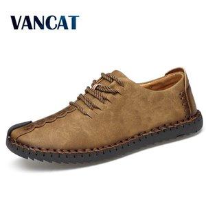 Vancat 2018 Nuevo Mocasines casuales cómodos Calidad Cuero dividido Hombres Pisos Venta caliente Mocasines Zapatos MX190729