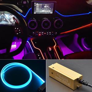 자동차 LED 실내 조명 콘솔 주위 장식 분위기 광섬유 램프 대시 보드 문 빛 DC 12V