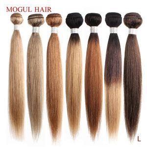 Cheap Weaves Mogul Color 8 Ash Blonde Color 27 Honey Blonde Indian Straight Hair Weave Bundles Ombre Remy Human Hair Extension