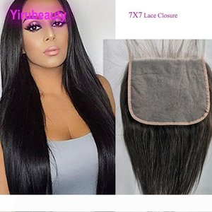 Brazilian Virgin Hair 7X7 Lace Closure New Hair Products 8-26inch Straight Human Hair Top Closures Seven By Seven