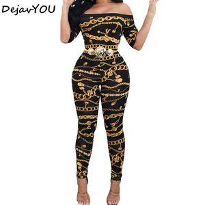 Новая коллекция весна осень с плеча с принтом комбинезоны длинные брюки для женщин элегантный фитнес с коротким рукавом комбинезон Sexy Club Rompers