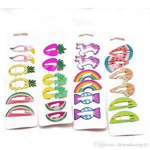 Bambini svegli clip di capelli Cartoon Frutta Unicorn Animal Forma neonate cottura Vernice Tornante Barrettes dei capelli dei bambini Accessaries Headwear
