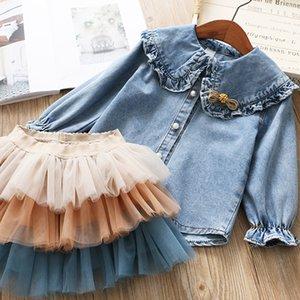 IYEAL Girls Clothing Sets 2020 New Spring Kids Clothes Long Sleeve Denim Shirts+Tutu Cake Skirt 2Pcs Children Toddler Outfit T200707