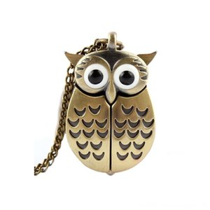 Bronze Owl Pocket Flipping Pocket Watch Quartz Clocks Home Dcor Watch Creative Hanging Table Creative Decoration