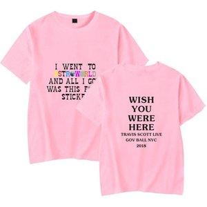 Дизайнер мода Tshirts Mens Трэвис Скотт Tshirts Летнее Дизайнерское AstroWorld Письмо печать короткий рукав футболка Топы Одежда