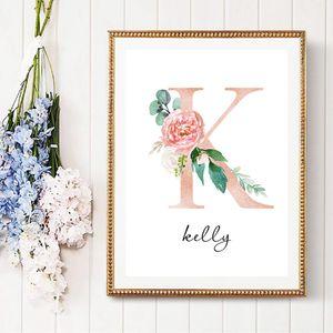 Personalizadas para chicas Señal de nombre de carteles personalizados e imprime las flores Cotizaciones cartel de la lona pared del cuarto de Imágenes para la niña Dormitorio
