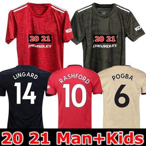 19 20 21 Les hommes et les enfants kit manchester Lukaku maison maillot de football 2019 2020 2021 Man Pogba Alexi Rashford LINGARD MAGUIRE uni maillot de football