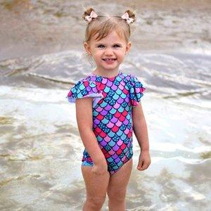 Kızlar One Piece Mayo 2pcs Yüzme Giyim Tek parça mayo Mayo Beachwear Çocuk One Piece Mayo