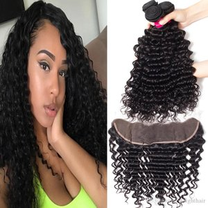 9A Brazilian Human Hair Bundles With Closure Deep Wave Kinky Curly Loose Wave Straight Body Wave 3Bundles With 13X4 Ear To Ear Lace Frontal
