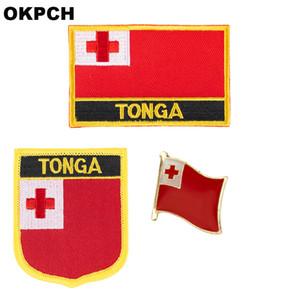 Tonga-Flaggenfleckenabzeichen 3pcs ein Satz bessert für Dekoration PT0174-3 der Kleidungs-DIY aus