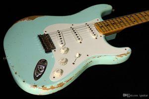 Handmade Custom Shop 62 Heavy Aged Relic страты Морская пена Green Электрогитара Surf Green Ольха Body Vintage Hardware Китай гитара