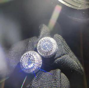 Oro Mega 3D Cluster CZ Iced Out Orecchini Bling Bling Orecchini 1 Paia Micro Pave Cubic Zircone Orecchino Uomini Donne Gioielli di moda per regalo 12x1