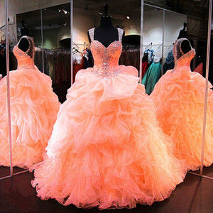 Peach Orange Quinceanera Dresses Beaded Tiered Ruffles Sleeveless Sweet 16 Dresses Elegant Prom Evening Party Organza Gowns 2020 Cheap