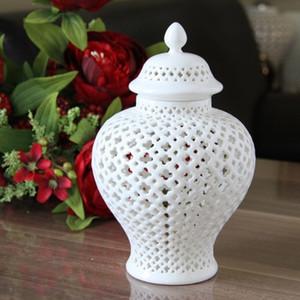 تل H27.5cm اللون الأبيض المزجج الخزف الخزف معبد JAR GINGER JAR