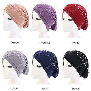 Nouvelle perles Femmes Stretchy Turban Hat Head Wrap Chemo Chapeau Couleur unie Beanies Bandana foulard musulman Hijab Cap Couvre-chef
