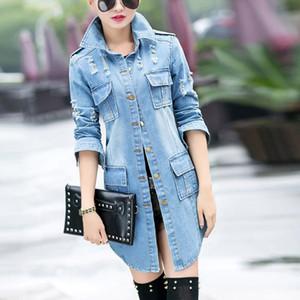 Giacca di jeans jeans lunghi cappotti da donna pro strappato eleganti signore Biker Casual Jeans Giacche Outwear con fori tasca bavero 9.27