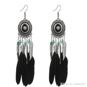 New Vintage Silver Colorful Feather Drop Earrings For Women Ethinic Blue Beads Carved Flower Leaf Dangle Earring