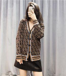 Duplo-carta camisola de mangas compridas 2020 Primavera e no Outono casa feminina suéter solto solto trecho fina cardigan jacket617