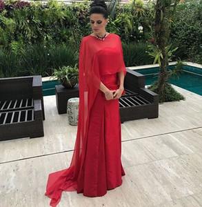 2019 Red Chiffon Schal Meerjungfrau Abendkleider Liebsten Lange Satin Frauen Party Kleid Elegante Mutter der Braut Kleid Formale Damenkleider