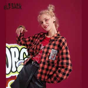 ELFSACK Orange Plaid Rat Applique Casual Blouse Shirts Women 2019 Winter Embroidery Back Long Sleeve Office Ladies Daily Tops