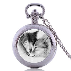 Drop Shipping Antique Punk White Wolf Mens Kids Womens Boys Quartz Pocket Watch Necklace Chain Pendant Gifts relogio masculino
