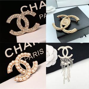 Heiße Verkauf Frauen Designer Broschen berühmten Brief Diamant BroschenPin Quaste Brosche Luxus Ladys Mode Schmuck Kleidung Dekoration