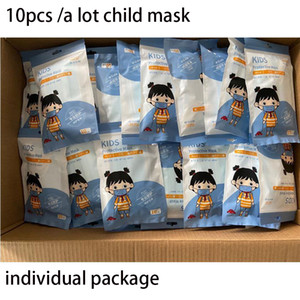 Disposable Children child Face mouth Masks 3 Layer designer Kids Mouth Mask With individual packaging FREE blue dhl Respirator