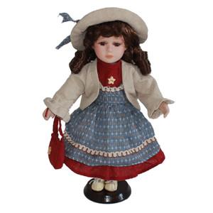 30cm victorienne Porcelain Doll petite fille modèle avec bleu Portemanteau d'affichage en bois, Décoration de Noël