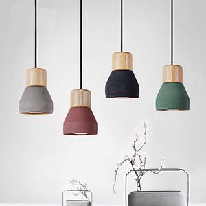 4 cores breves Loft Nordic Estilo de cimento madeira pingente luzes Luz moderna levou E27 lâmpada cabo Restaurant sala cafe quarto