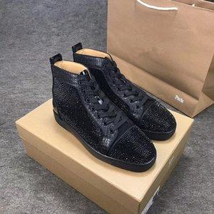Designer de moda Strass Sapatos de Areia de Cristal Sapatos Sapatos de Fundo Vermelho Para As Mulheres Mens Amantes de Festa de Luxo Tênis de Couro Genuíno