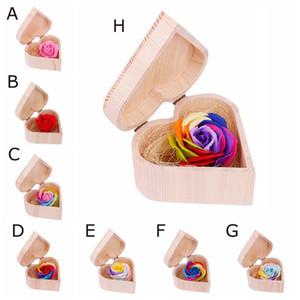 Heart Shaped Soap Box de madeira Flor Simulação colorido caixa de madeira tamanho 12.8X7cm sabão flor Rose Pequeno e presente de casamento de madeira