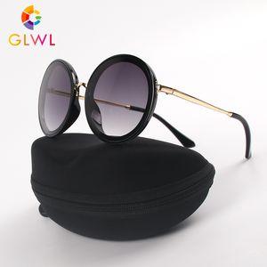 Óculos de sol com de Mulheres Box armações redondas Sun Óculos Vintage Eyewear For Ladies óculos Caso Marca Shades oculos de motorista 2020
