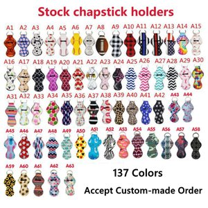 Neoprene Keychain Sports Printed Chapstick Holder Leopard Keychain Wrap Lipstick Holders Lip Cover Party Favor Gift 61 Designs YW1710