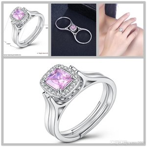 19SS ajustable Tamaño 5-10 lujo de la joyería 925 de la CZ de la gema sterlling boda de las mujeres simulado dedo anular de compromiso de diamantes anillo de regalo L5