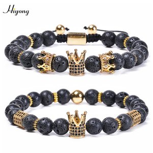 HIYONG Essential Oil Diffuser Bracelets Natural Lava Rock Stone Beads Bracelet King And Queen CZ Crown Bracelet Therapy Jewelry