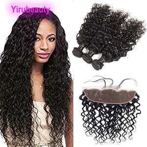 Индийская Волна Волна 13x4 Кружева Frontal с 3 Пучками Человеческие Пакеты Волос С Лайном Лобовое ухо до наращивания волос