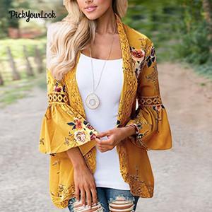Pickyourlook Bayan Hırka Uzun Kollu Bayan Dantel Hırka Sonbahar Patchwork Çiçek Artı boyutu Lady Kimono Hırka Dış Giyim Y190427 Tops