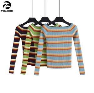 FOLOBE otoño invierno de las mujeres puente caliente RAYA suéteres casuales mujeres largas de la manga tops de punto