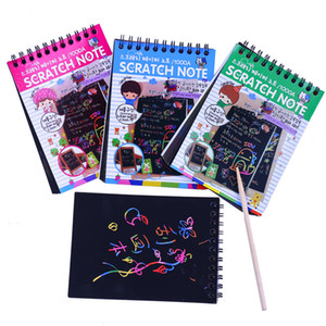 Xmas Kid Travel Toy Gifts Colorful Drawing Art Rainbow Scratch Sketch Note Pads Scratch Rainbow Mini Notes Scratch Paper Notepad with pen