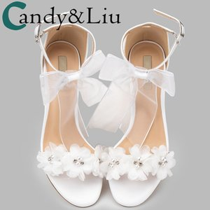 womem sandals white wedding shoes summer elegant Lace Bowknot one word wristband white flower cross with bare toe thick heel new Y200702