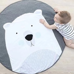 Bebek Gym Mat için Çocuk Odası Koala Tavşan Hayvan Yumuşak Pamuk Tarama Mats Yuvarlak Kat Kilim Playmats için 90cm Bebek Çal Mats Halı